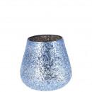 Lampe à vent en verre Namika, H10cm, bleu